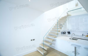 Interior Glass Floating Staircase with Clear Glass Handrail pictures & photos