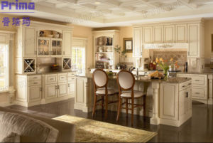 Cream Glazed Molding Raised Panel Free Standing Kitchen Cabinets pictures & photos
