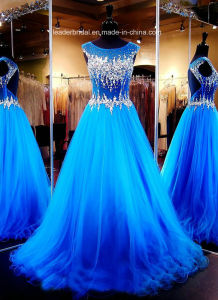 Blue Tulle Party Evening Gown Sheer Corset Crystal Prom Dresses E201645 pictures & photos