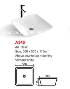 Ceramic Wash Basin (No. A346) Square Art Basin Above Countertop Mounting 500mm pictures & photos
