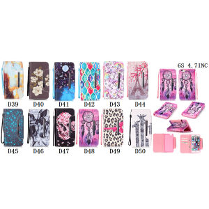 Colored Drawing PU Leather Case Wallet Filp Cover for iPhone6 6s pictures & photos