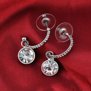 White Metal Casting Jewelry Korean Style Shiny Ear Ring Small Crystal Drop Hook Earrig pictures & photos