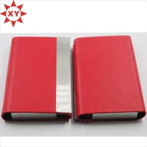 New Style Red Leather Metal Business Card Case Credit Card Holder pictures & photos