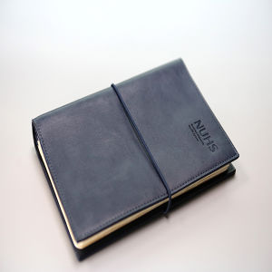 Black Leather Cover with Rubber Office Notebook Printing pictures & photos