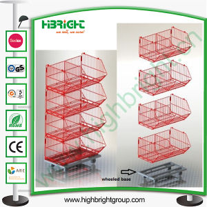 Promotion Stacking Wire Basket Display Stand pictures & photos