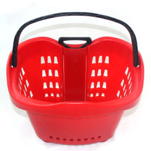 Apple Style Draw Lever Supermarket Plastic Shopping Basket (ZC-13) pictures & photos