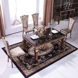 Most Popular Brushed Rose Golden Steel Dining Table with Chairs pictures & photos