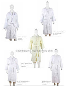 100% Cotton Velvet Jacauard Hotel Bathrobe pictures & photos