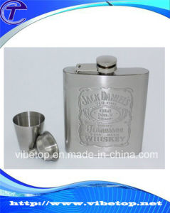 High Quality Stainless Steel Flagon with a Built-in Collapsible Shot Glass pictures & photos