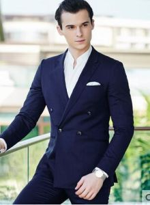 2017 Hot Men Double-Breasted Groom Black Dress Suit pictures & photos