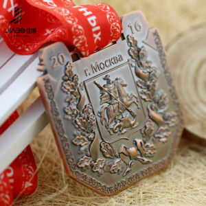 Antique Bronze Zinc Alloy 3D Russia Metal Sports Medallion with Lanyard pictures & photos