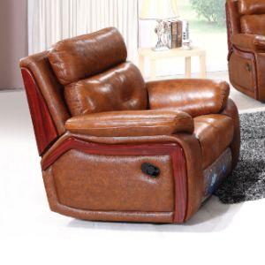 Luxury Wood Trim Italian Leather Recliner Sofa 6041m pictures & photos