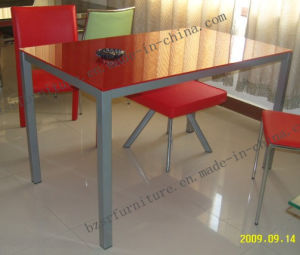 Tempered Glass Powder Coating Leg Dining Table (ST-5135)