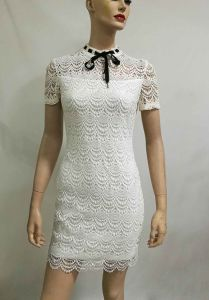 2017 New Fashion White Lace Bow Dress Short Sleeve Ladies Dress Korean Design pictures & photos