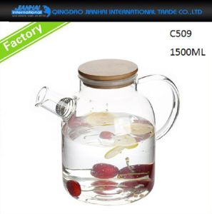 Large Clear Glass Tea Kettle with Bamboo Lid & Filter pictures & photos