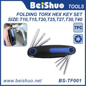 7 Pieces Folding Torx Hex Key Set with Rubber Handle pictures & photos