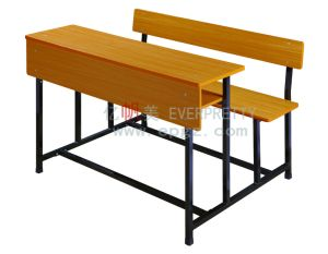 Elementary School Wooden Classroom Double Student Desk and Chair pictures & photos