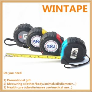 Hot Selling ABS and Rubber Coated Measure Tape Ruler/Steel Tape Measure with Button pictures & photos