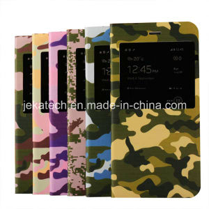 Camouflage Skin Window View Leather Case for iPhone 6 Plus pictures & photos