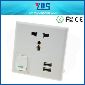 Euro/EU/UK/USA 2.1A Universal USB Wall Switched Outlet Socket pictures & photos