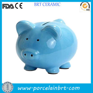 Blue Ceramic Wholesale Cheap Piggy Money Box pictures & photos