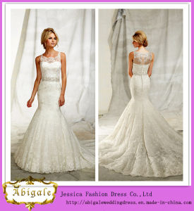 2014 Hot Sale High Quality Custom Made Designer Lace Wedding Dress with Full Lace Sheer Strap Button Back Long Train (MN1183) pictures & photos