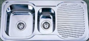 Double Bowl Kitchen Sink with One Draining Board (KID9848) pictures & photos