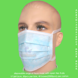 Disposable 1-Ply 2-Ply 3-Ply Doctor Face Mask with Head Bands pictures & photos