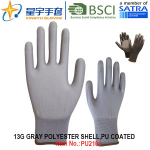 13G Polyester Shell PU Coated Gloves (PU2101) with CE, En388, En420, Work Gloves pictures & photos