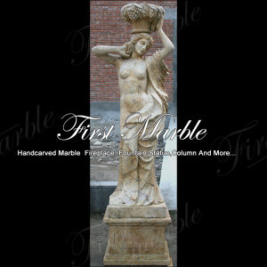 Hand-Carved Golden Travertine Four Season Sculpture for Home Decoration Ms-1004 pictures & photos