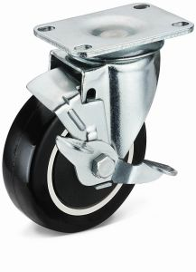 Medium Duty Flat Plate Swivel with Side Brake PU Wheel Caster (02S01B1075.32UPB)