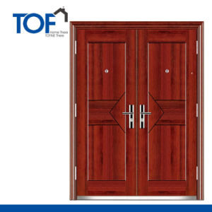Decorated High Quality Exterior Steel Security Double Swing Door