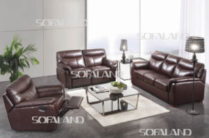Brown Color 3 Seat Leather Sofabed pictures & photos