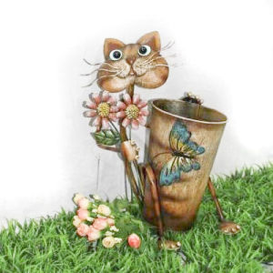 Garden Metal Cat Flower Pot (JW11013)