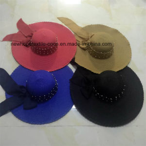 100% Straw Hat, Fashion Floppy Style with Ribbon Decoration pictures & photos