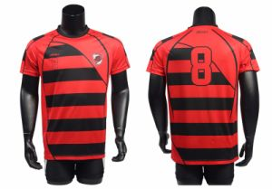 Custom Shifting Stripe Print Men Soccer Jersey Soccer Uniforms pictures & photos