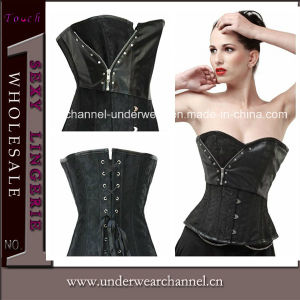 Lady Overbust Black Brocade Corset (T5358) pictures & photos
