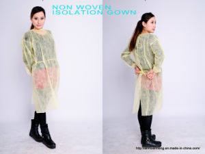 Soft Nonwoven PP Surgical Yellow Isolation Gown pictures & photos