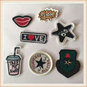 Customed Laser Edge Garments Woven Patch/Badge pictures & photos