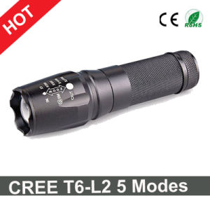 Ultra Bright CREE T6-L2 Flashlight 5 Modes Zoomable LED Torch Light pictures & photos