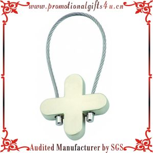 Wire Rope Metal Cross Blank Key Chains (JY-MK-065)