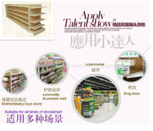 Hot Ce Standard Supermarket Gondola Metal Furniture Shelf with Wood Surface pictures & photos