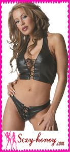 Sex Hot Black Leather Lingerie (LD-10689)