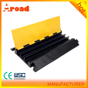 Yellow Color Lid Rubber Base 3 Channel Rubber Cable Ramp Cable Protector pictures & photos