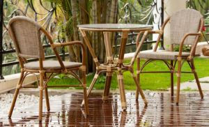 Outdoor Garden Furniture Bamboo Rattan Dining Table and Chair Set (BZ-SB017)
