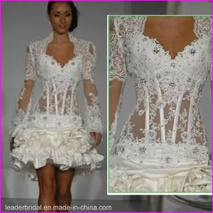 Sexy Short Cocktail Party Dress Lace Long Sleeves Wedding Dress L06 pictures & photos