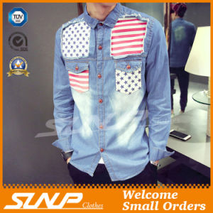 Personality Fashion Long Sleeve Denim Shirt for Men