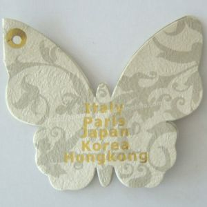 Gold Foil Debossing Offset Printed Butterfly Shape Garment Hangtag pictures & photos