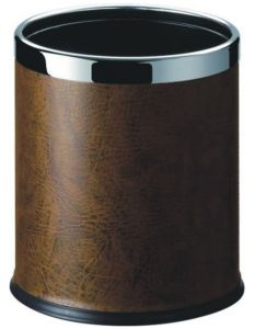 Hotel Brown Leatherette Covered Waste Trash Bin pictures & photos