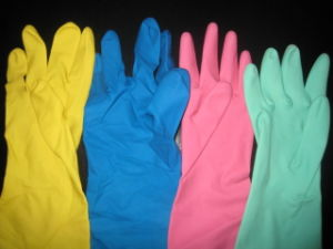 60gram Flock Line Yellow Latex Household Gloves (NEO-1026) pictures & photos